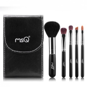 Premium Makeup Brush Set Cosmetic Foundation Powder Eyeshadow Brow Lip Black 5 PCS Mini Brushes with Pouch