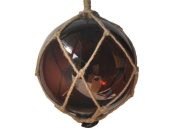 Handcrafted Decor 10 Amber Glass - Old Amber Japanese Glass Ball Fishing Float with Brown Netting Decoration 25cm .