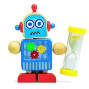 Childrens Tootbrush Holder and Timer [ Sand 3 minute ] Timer Robot Character Wood Design for Kids & Baby Excellent Novelty Gift
