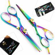 New Multi Titanium Lefty Hairdressing Scissors Set 5.5 Inch Professional Barber Salon Hair C Cutting Scissors Left handed thinning Scissors (14 Cm ) + Scissors Accessories.