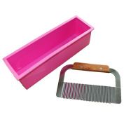Vancgoods Rectangle Silicone Soap Mould Mould Loaf Wavy Stainless Steel Soap Cutter Slicer Makes Supplies