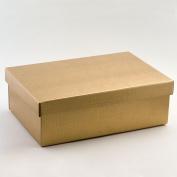 10 Gold Silk Rectengular Box & Lid - 300x200x100mm - Wedding Favours Boxes
