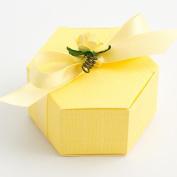 10 Lemon Silk Hexagonal - 60x30mm - Wedding Favours Boxes