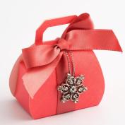 10 Coral Silk Handbag - H.80mm - Wedding Favours Boxes