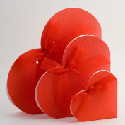 10 Red Silk Heart - 140x30mm - Wedding Favours Boxes