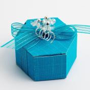 10 Turquoise Silk Hexagonal - 70x70x25mm - Wedding Favours Boxes