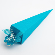 10 Turquoise Silk Cone 155mm - Wedding Favours Boxes