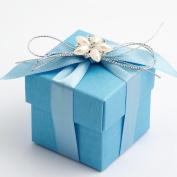 10 Blue Silk Square Box & Lid - 50x50x50mm - Wedding Favours Boxes
