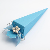10 Blue Silk Cone - 155mm - Wedding Favours Boxes
