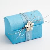 10 Blue Silk Cofanetto - 70x45x52mm - Wedding Favours Boxes