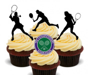 Wimbledon Womens' Tennis Player Silhouettes Edible Cake Decorations - Stand-up Wafer Cupcake Toppers