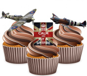 Keep Calm British Spitfire Mix - Edible Stand-up CupCake Toppers