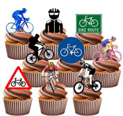 Cycling / Cyclist Party Pack, Cake Decorations - 36 Edible Stand-up Cupcake Toppers