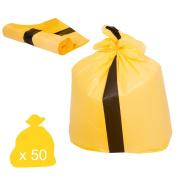 Yellow Tiger Stripe Waste Bags - Medium Duty (Roll of 50), 90L
