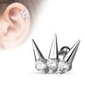 "3 CZ Set Spikes 316L Surgical Steel Cartilage/Tragus Barbell - 16GA (1.2mm) 1/4"" (6mm) 3mm Clear"