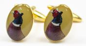 Soprano Pheasant Head Gold Country Cufflinks