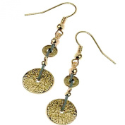 Hammered Gold Coin Drop Earrings