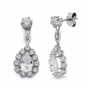 Earrings with zircons and white gold 9k