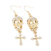 EVBEA Cool Alloy Gothic Punk Style Skull Cross Shaped With Diamond Long Dangle Earrings for Women