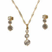 Jewellery Set Necklace and Earrings Gold-Plated Metal Crystal and Round