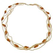Alek Sander 5 Row Conteria Murano Star Stars Murano Glass Charm Necklace 70 cm Gold Plated 925 Sterling Silver/Amber