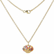 Alek Sander Murano Star Stars Murano Glass Gold Leaf 999 Women's Chain with Pendant 925 Sterling Silver Gold Plated 50 cm