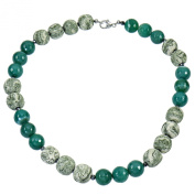 Yvesse Women's Necklace Chain Rhodium Plated 925 Sterling Silver Green Agate Lava Rock 50 cm Lobster Claw