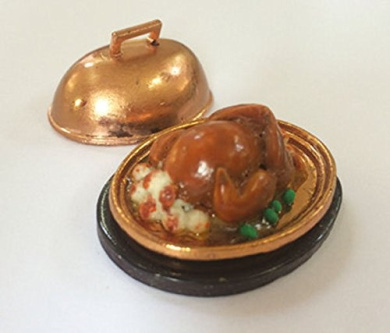 Dolls House Christmas Dinner on Tray 1/12th Scale Miniatures