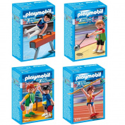 Playmobil Sports Olympia Olympic Games 4 pcs. set 5192 5197 5200 5201 Gymnast on Pommel Horse + Two Table Tennis Players + Hammer Thrower + Javelin Thrower