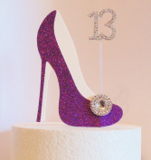 13th Birthday Cake Decoration Purple Shoe with Crystal Button Embellishment and Diamante Number