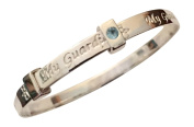 Sterling Silver Baby Bangle Birthstone - March