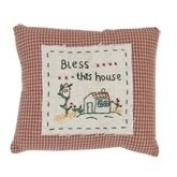 DT0212 Cushion cover / Pillow case Bless...this house - NO TICKING ca. 15cm x 18cm