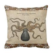 Octopus Kraken Vintage Scientific Illustration Throw Pillow Cushion Cover Fashion Home Decorative Pillowcase Cotton Polyester Pillow Cover