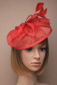 Beautiful Large Red Hatinator Hat with slanted band Bridal. Races, Ladies Day