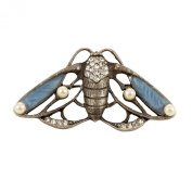 Painted Enamel Rhinestone Butterfly Moth Brooch for Pearls Handbag Evening Gown Shawl Dress Cardigan