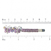HATHOR Silver tone Amethyst Crystal Butterfly Pair Hair Clips