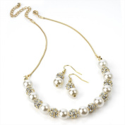 Gold and Cream Pearl Crystal Necklace and Earring Set Costume Fashion Jewellery
