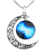 Crescent Moon Planet Galaxy Space Universe Silver Chain Glass Cabochon Pendant Necklace Gifts Charm Choker