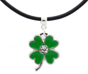 Enamelled green lucky four leaf clover with Rhinestone on Premium leather choker / necklace
