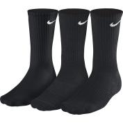 Mens NIKE 3 pair pack black cotton crew cushioned sport socks.