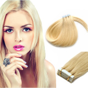 PU Tape In Remy Human Hair Extensions Straight Beauty style Light Blonde 20pcs 46cm
