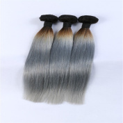 Angelbabyhair Grey Ombre Hair Extensions 3Pcs 1B Grey Straight Human Hair Two Tone Ombre 60cm