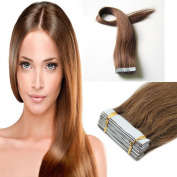 46cm Medium Brown Pu Tape in Full Head 100% Remy Human Hair Extensions Straight Beauty Style 40g