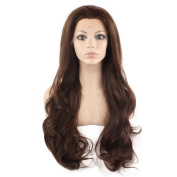 Mxangel Long Celebrity Natural Hairline Wavy Brown Mix Synthetic Lace Front Wig