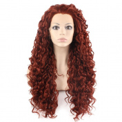 Mxangel Long Heat Resistant Synthetic Hair Celebrity Burgundy Wine Red . Curly Lace Front Wig