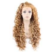 Mxangel Long Heat Resistant Synthetic Hair Highlight Blond Celebrity . Curly Lace Front Wig