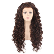 Mxangel Long Heat Resistant Synthetic Hair Highlight Brown Celebrity . Curly Lace Front Wig