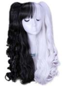 70cm Multi-colour Lolita Long Curly Wavy Hair Wigs Multicolor Wigs(Black/white)