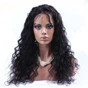 Nicetobuy 36cm - 70cm Long Glueless Loose Curly Wave Lace Front Wig 100% Brazilian Virgin Human Hair Wigs for Women 130% Density Medium Cap Medium Brown Lace