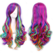 70cm (approx) Curl wavy Mixed colour Long Hair Cosplay Party Wig HS02